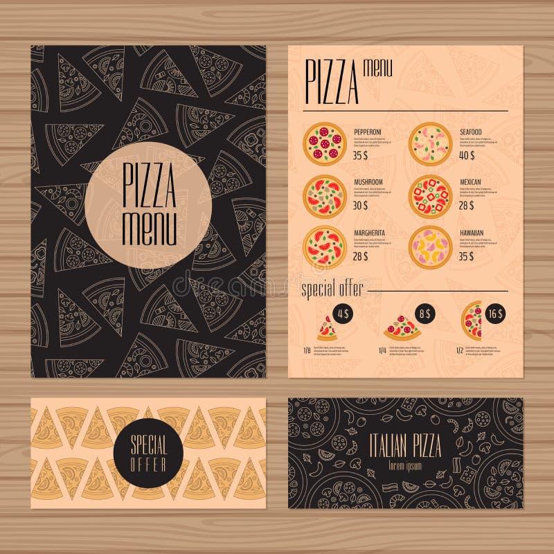 Σχέδιο επιλογών πιτσών A4 μέγεθος και πρότυπο σχεδιαγράμματος ιπτάμενων Εστιατόριο απεικόνιση αποθεμάτων