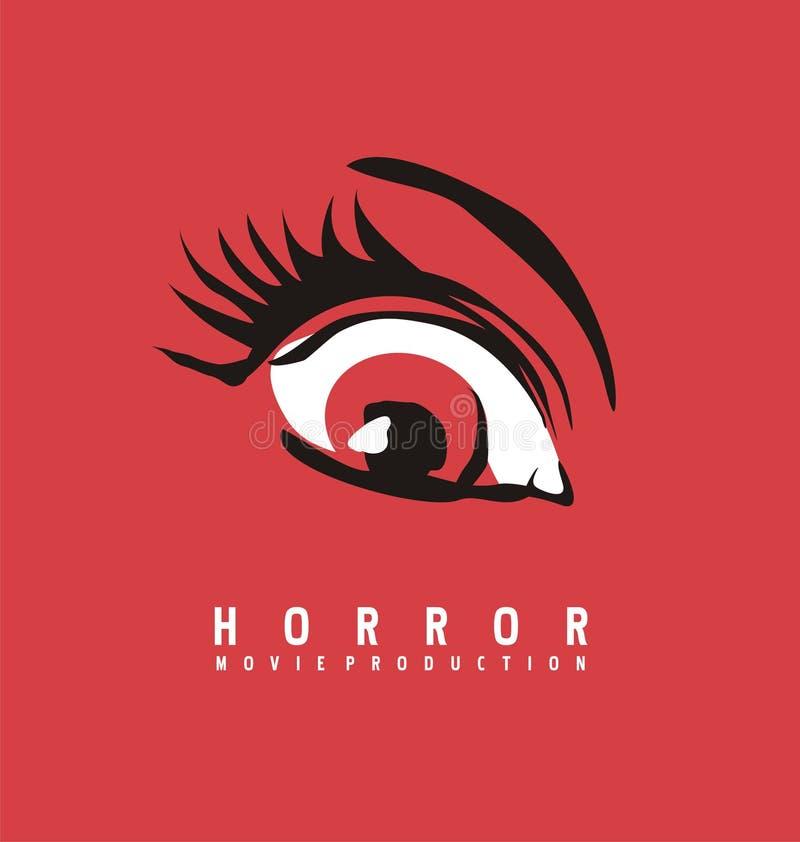 Σχέδιο επιχειρησιακών λογότυπων παραγωγής ταινίας τρόμου απεικόνιση αποθεμάτων