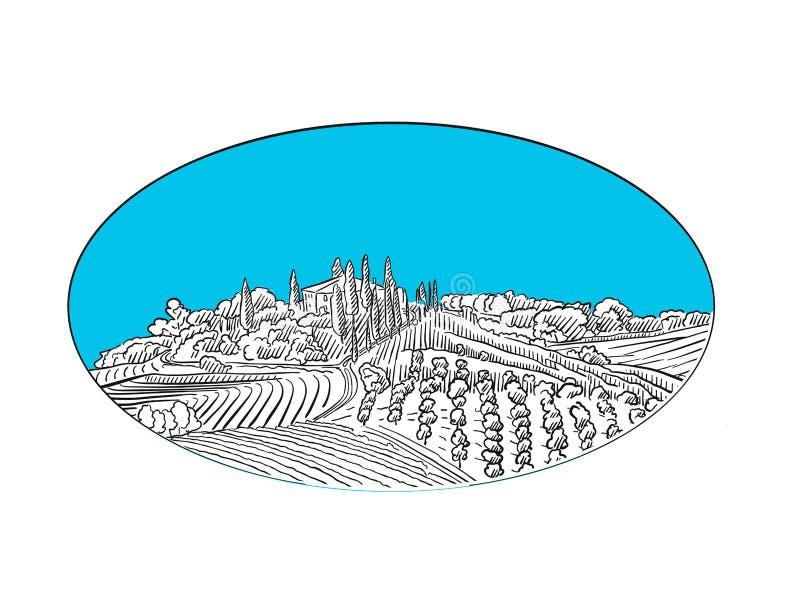 Σχέδιο ετικετών τοπίων αμπελώνων διανυσματική απεικόνιση