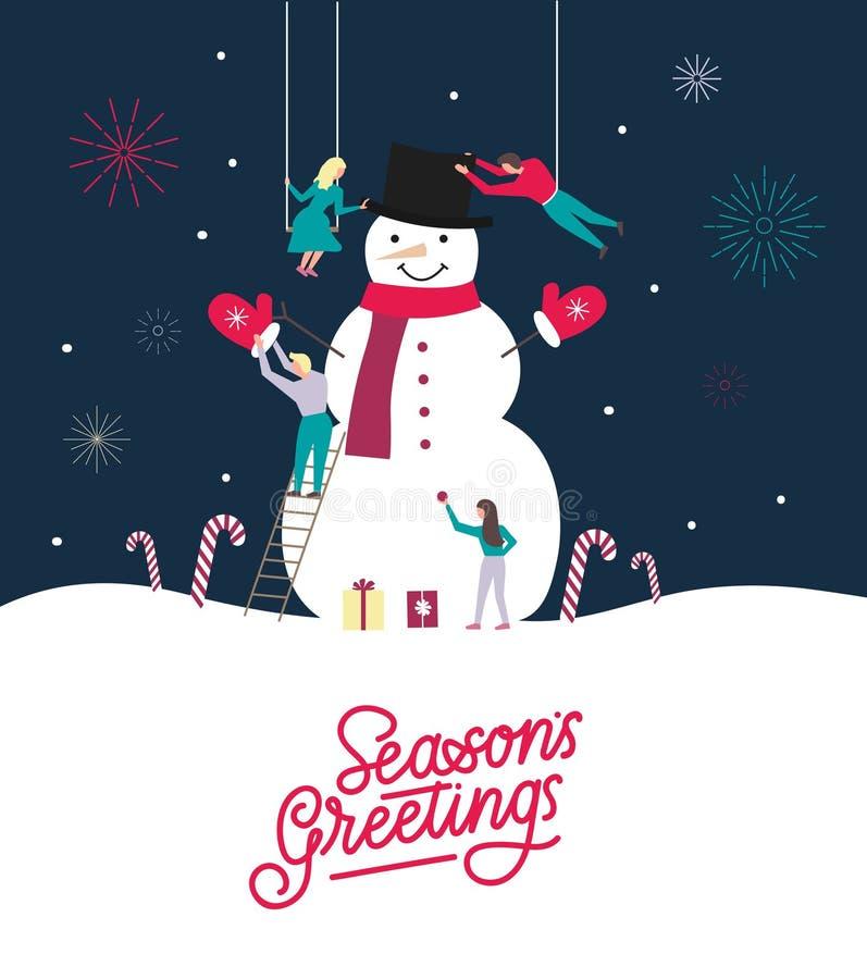 Σχέδιο ευχετήριων καρτών χαιρετισμών εποχής Πρότυπο σχεδίου Χαρούμενα Χριστούγεννας ελεύθερη απεικόνιση δικαιώματος