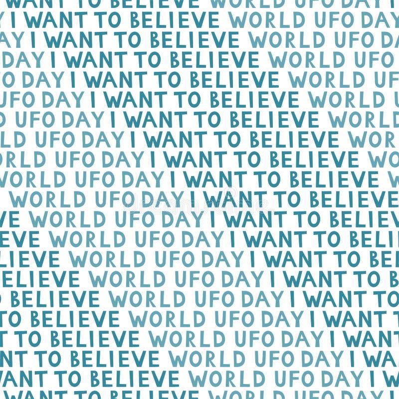 Σχέδιο ημέρας UFO, απλό άνευ ραφής υπόβαθρο Θέλω να πιστεψω το κείμενο απεικόνιση αποθεμάτων