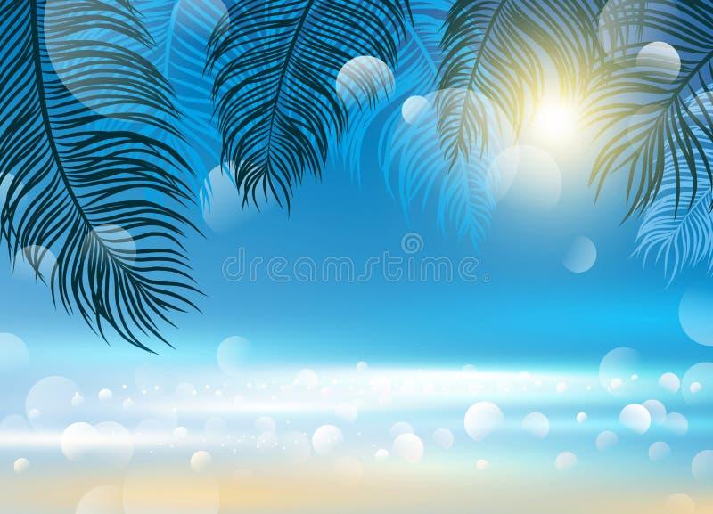 Σχέδιο θερινής έννοιας των φύλλων καρύδων στο διάνυσμα υποβάθρου θάλασσας ελεύθερη απεικόνιση δικαιώματος