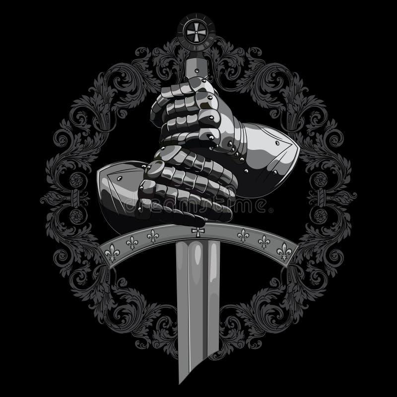 Σχέδιο ιπποτών Γάντια τεθωρακισμένων του ιππότη, της ασπίδας και του ξίφους του σταυροφόρου διανυσματική απεικόνιση