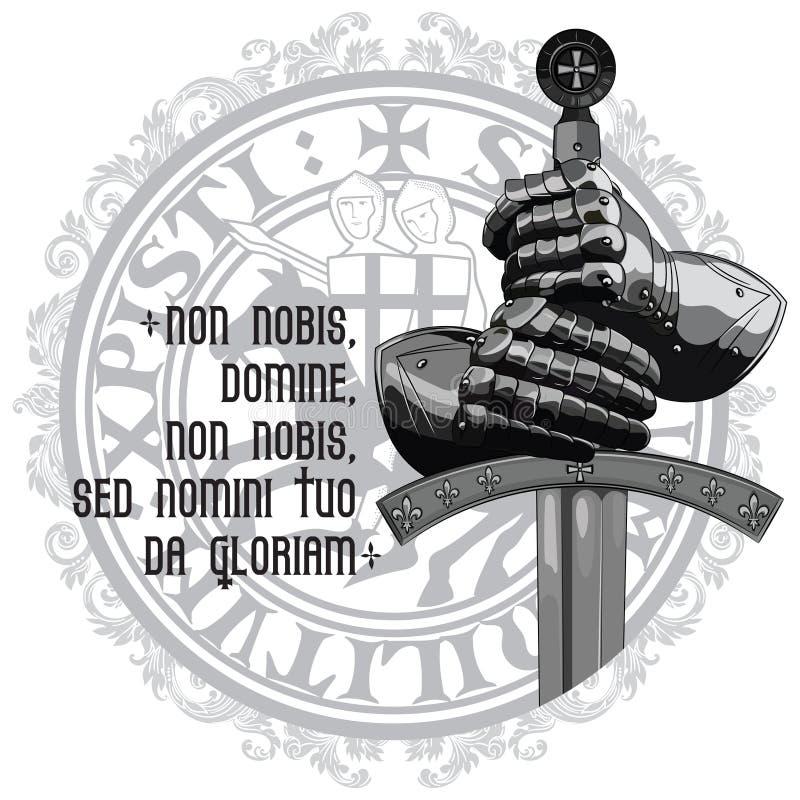Σχέδιο ιπποτών Γάντια τεθωρακισμένων του ιππότη, της ασπίδας και του ξίφους του σταυροφόρου απεικόνιση αποθεμάτων