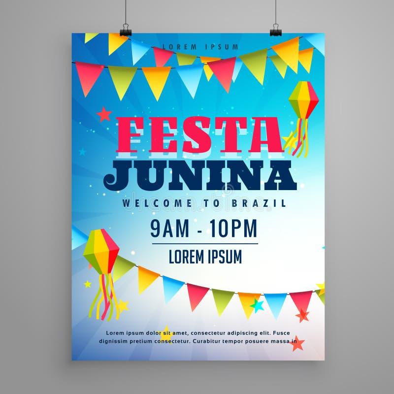 σχέδιο ιπτάμενων αφισών εορτασμού junina festa με το ντεκόρ γιρλαντών ελεύθερη απεικόνιση δικαιώματος