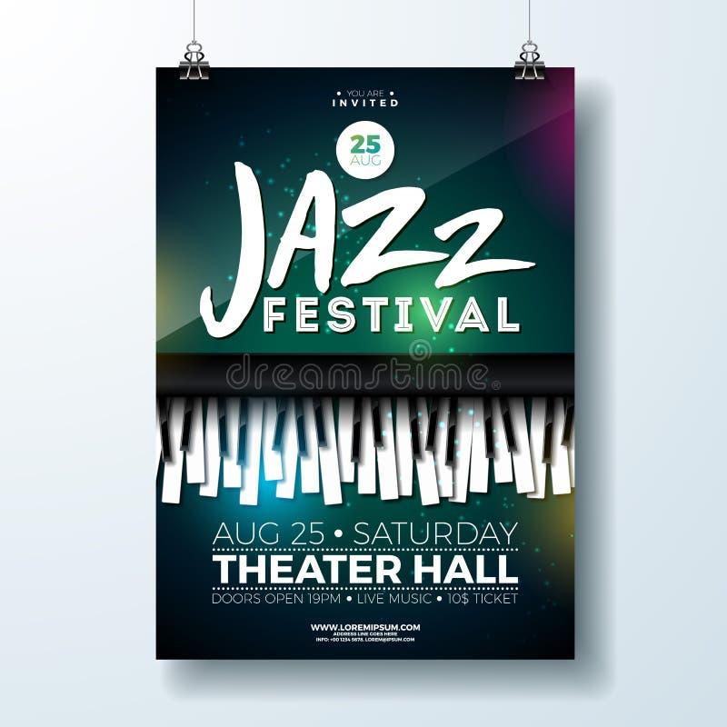 Σχέδιο ιπτάμενων φεστιβάλ μουσικής της Jazz με το πληκτρολόγιο πιάνων στο σκοτεινό υπόβαθρο Διανυσματικό πρότυπο απεικόνισης κόμμ απεικόνιση αποθεμάτων