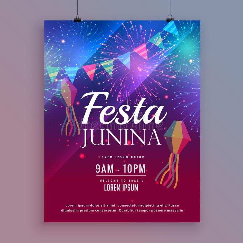 Σχέδιο ιπτάμενων junina Festa με τα πυροτεχνήματα απεικόνιση αποθεμάτων