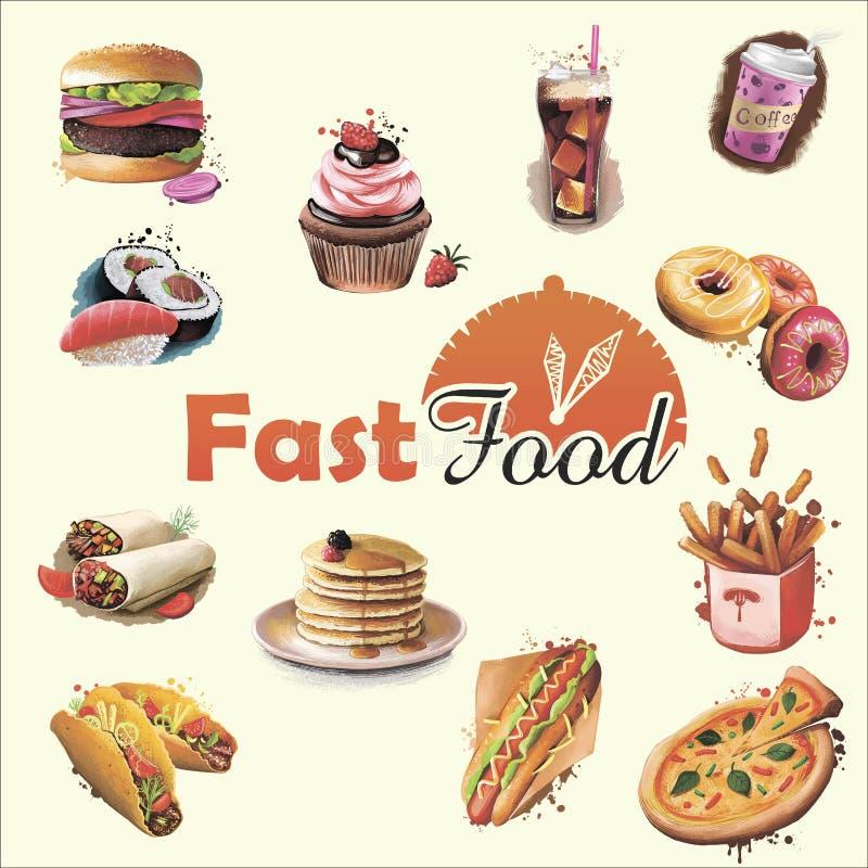 Σχέδιο κάλυψης επιλογών γρήγορου γεύματος Ψηφιακή απεικόνιση τέχνης των τροφίμων και των ποτών, burrito και καφές, cupcake και do ελεύθερη απεικόνιση δικαιώματος