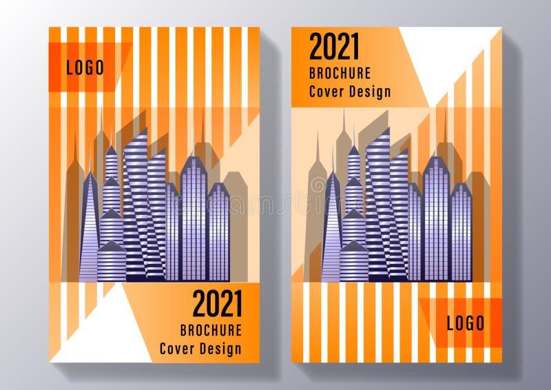 Σχέδιο κάλυψης Broshure: ουρανοξύστες, εικονική παράσταση πόλης επάνω στο υπόβαθρο των γεωμετρικών μορφών των πορτοκαλιών λωρίδων διανυσματική απεικόνιση