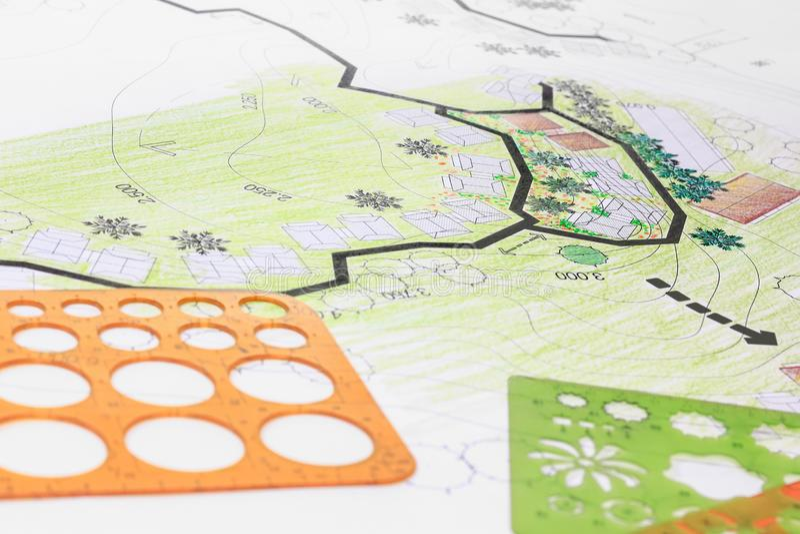Σχέδιο κήπων σχεδίου αρχιτεκτονικής τοπίων για το συγκρότημα κατοικιών στοκ φωτογραφία