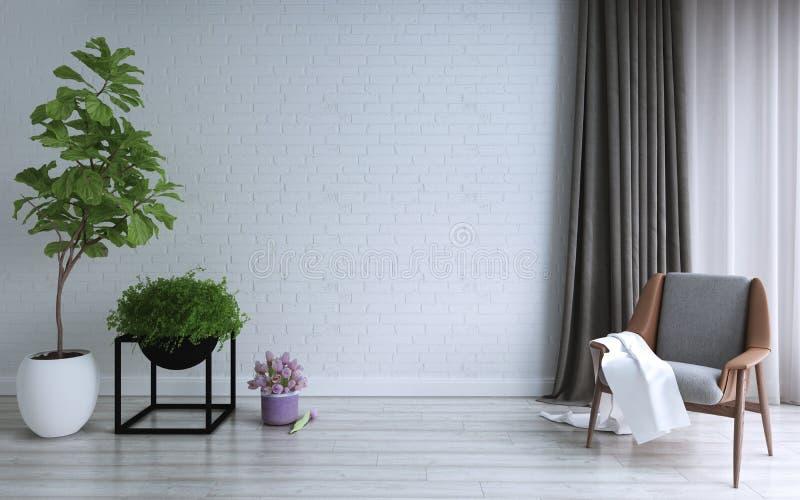 Σχέδιο καθιστικών, εσωτερικό της σύγχρονης σοφίτας και του ελάχιστου ύφους ελεύθερη απεικόνιση δικαιώματος
