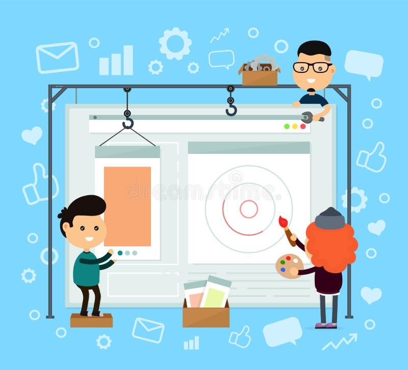 Σχέδιο και ανάπτυξη Ιστού ιστοσελίδας και συσκευή αναπαραγωγής πολυμέσων και σύνολο εικονιδίων ελεύθερη απεικόνιση δικαιώματος