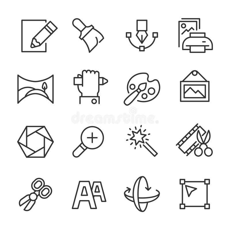Σχέδιο και δημιουργικότητα - εικονίδια γραμμών διανυσματική απεικόνιση