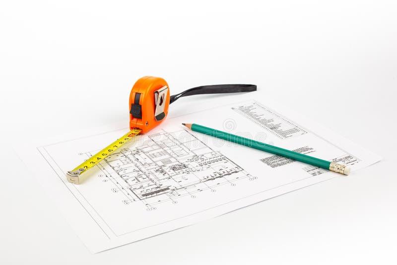 Σχέδιο και εργαλεία σε ένα ελαφρύ υπόβαθρο στοκ φωτογραφία