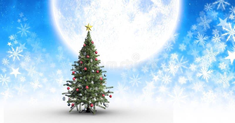 Σχέδιο και φεγγάρι Χριστουγέννων χριστουγεννιάτικων δέντρων και Snowflake διανυσματική απεικόνιση