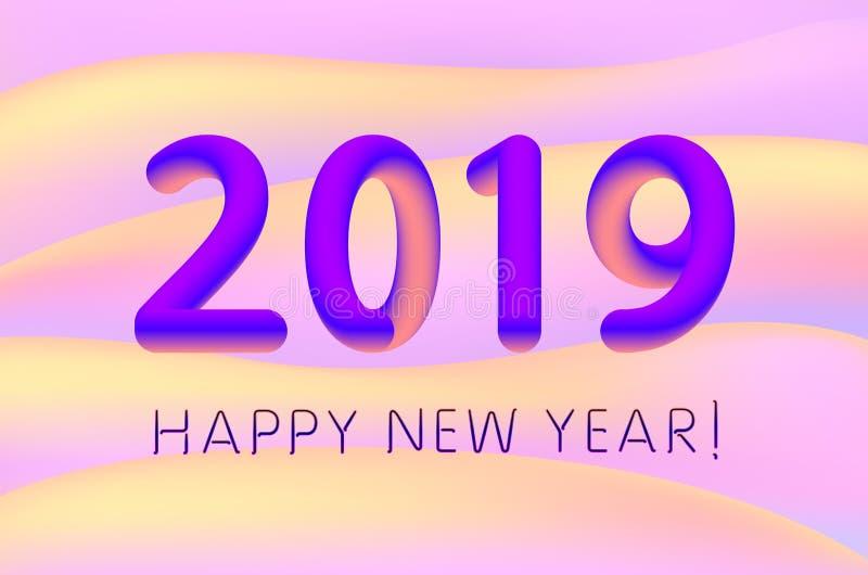 Σχέδιο 2019 καλή χρονιά κλίσης για το έμβλημα ή την αφίσα, την ετήσια επιχειρησιακή έκθεση ή την ημερολογιακή κάλυψη Έκρηξη της ζ απεικόνιση αποθεμάτων