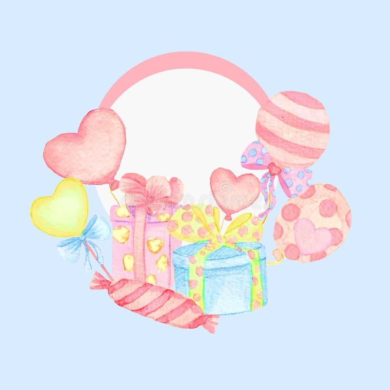 Σχέδιο καρτών διακοπών με το μπαλόνι και το αεροπλάνο Ντους μωρών Έγγραφο, λεύκωμα αποκομμάτων ελεύθερη απεικόνιση δικαιώματος