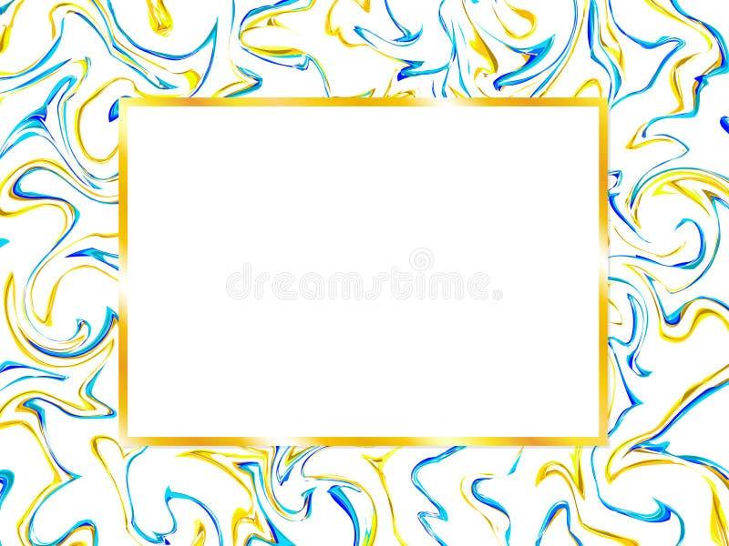 Σχέδιο καρτών με το μαρμάρινο σχέδιο και το χρυσό πλαίσιο απεικόνιση αποθεμάτων