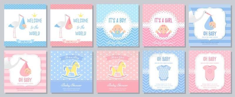 Σχέδιο καρτών ντους μωρών r Πρόσκληση προτύπων ελεύθερη απεικόνιση δικαιώματος