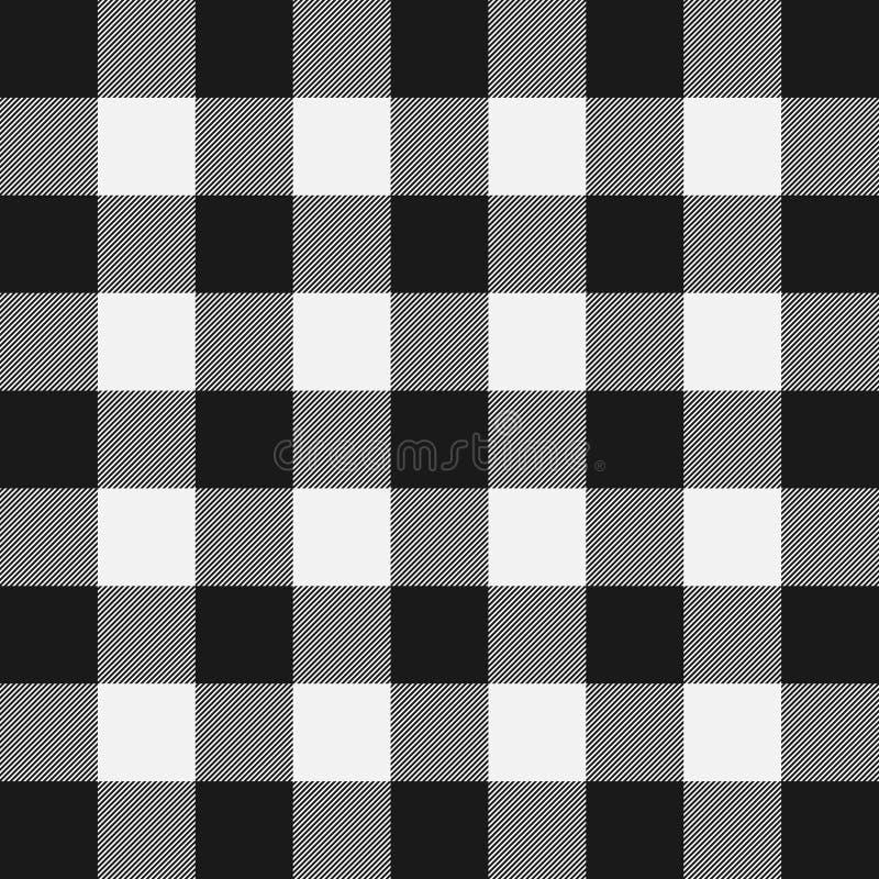 Σχέδιο καρό υλοτόμων Λευκός και μαύρος υλοτόμος προτύπων διανυσματική απεικόνιση