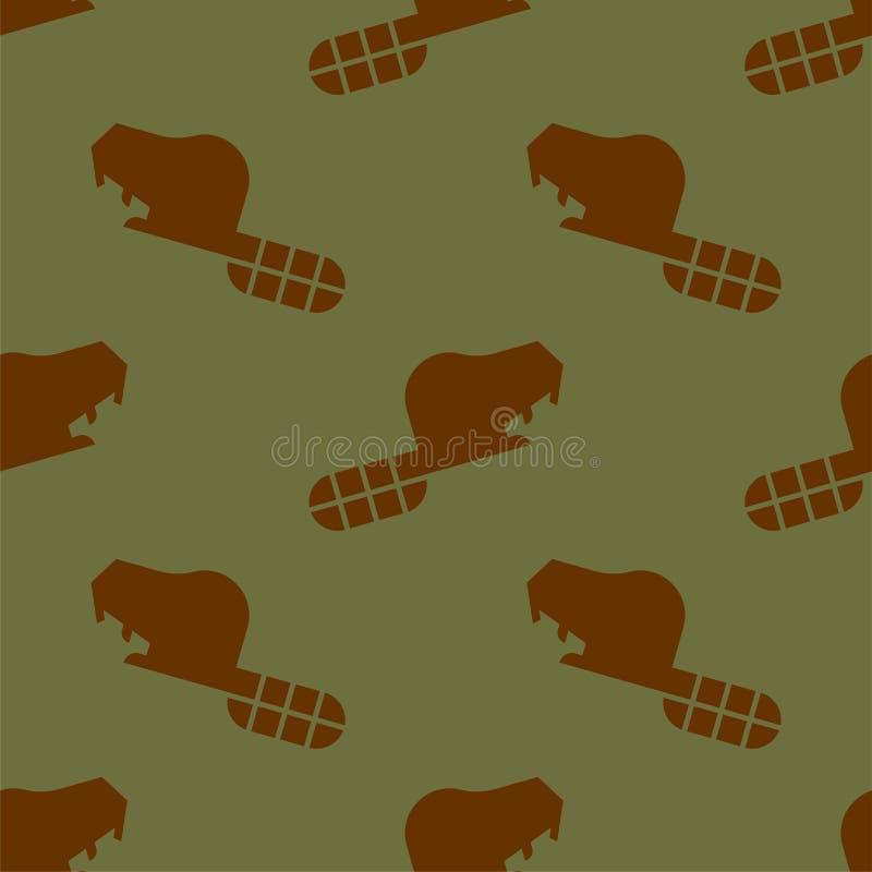 Σχέδιο καστόρων άνευ ραφής Διακόσμηση υποβάθρου άγριων ζώων ελεύθερη απεικόνιση δικαιώματος