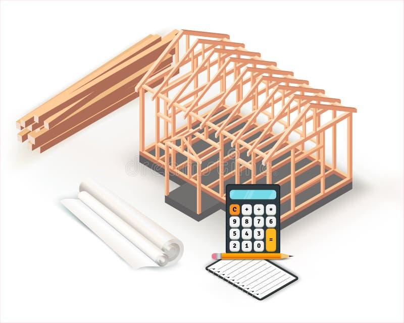 Σχέδιο κατασκευής βάσεων σπιτιών ξύλινων πλαισίων Κτήριο, προγραμματισμός και υπολογισμοί προγράμματος αρχιτεκτονικής στο ρόλο εγ διανυσματική απεικόνιση