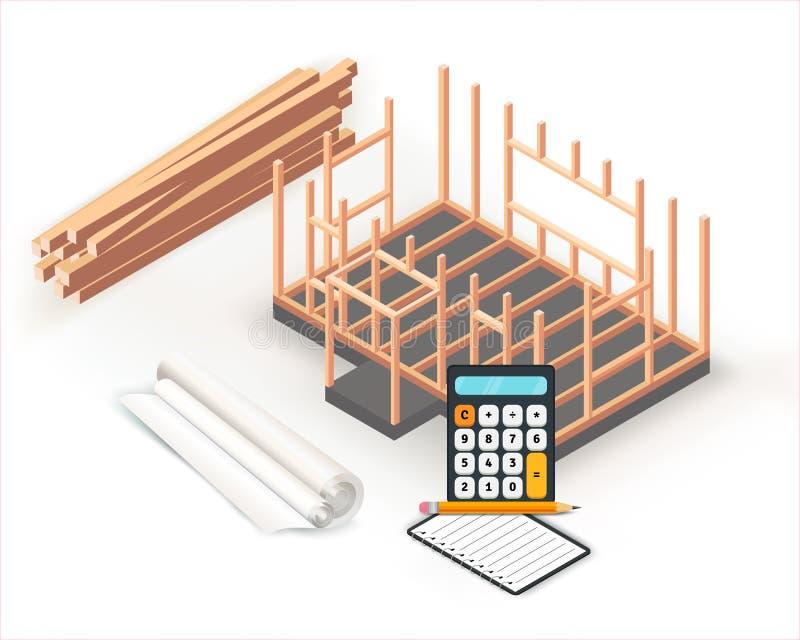 Σχέδιο κατασκευής βάσεων σπιτιών ξύλινων πλαισίων Κτήριο, προγραμματισμός και υπολογισμοί προγράμματος αρχιτεκτονικής στο ρόλο εγ ελεύθερη απεικόνιση δικαιώματος