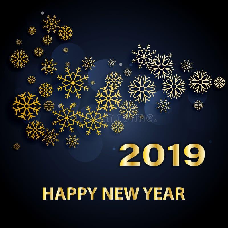 Σχέδιο κειμένων καλής χρονιάς 2019 Διανυσματική απεικόνιση χαιρετισμού με τους χρυσούς αριθμούς και snowflakes σε έναν σκούρο μπλ απεικόνιση αποθεμάτων