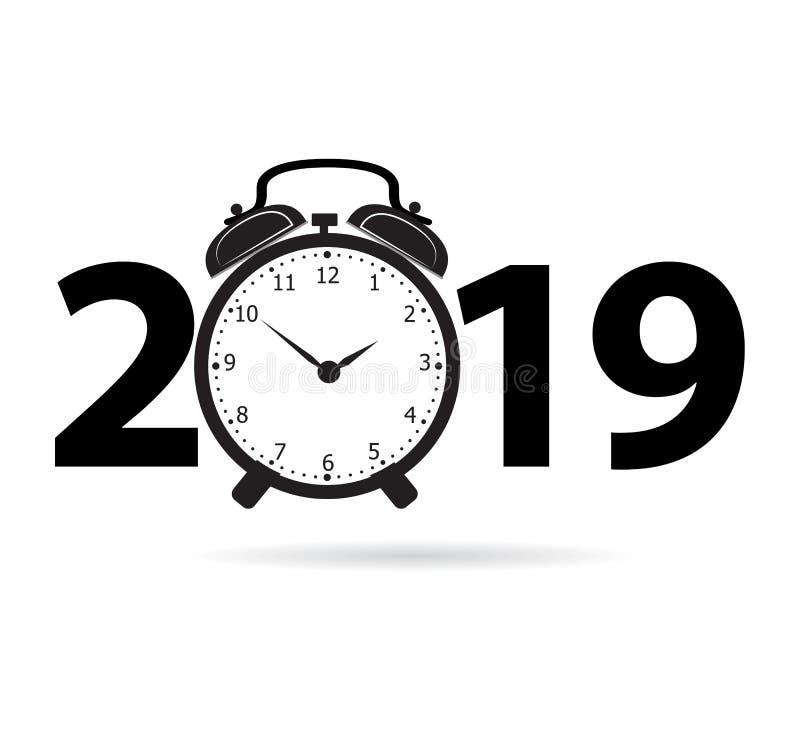 Σχέδιο κειμένων καλής χρονιάς 2019 με το ξυπνητήρι για σας ελεύθερη απεικόνιση δικαιώματος