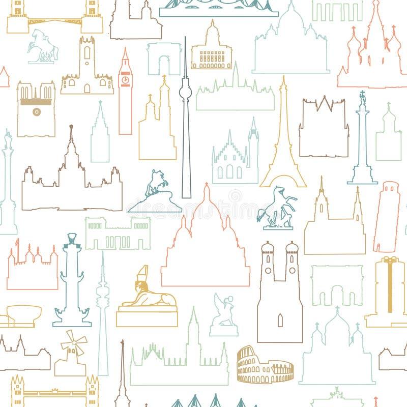 Σχέδιο κεραμιδιών παγκόσμιων ορόσημων ταξιδιού Σύνολο εικονιδίων θέας ταξιδιού απεικόνιση αποθεμάτων