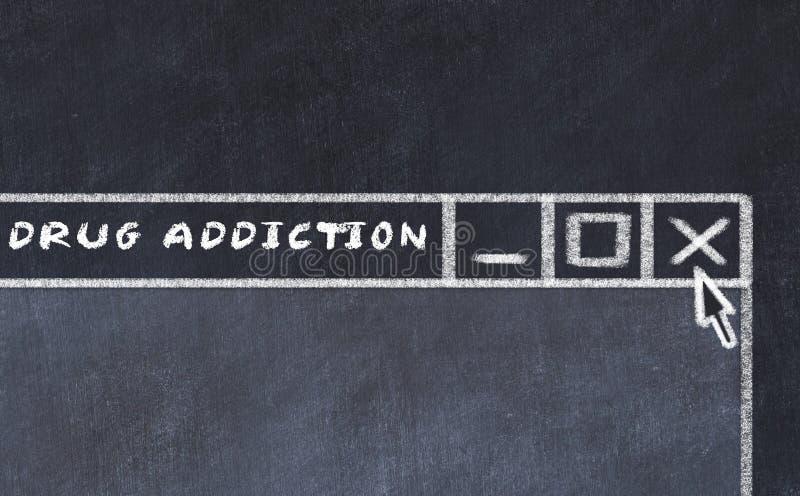 Σχέδιο κιμωλίας του παραθύρου στη οθόνη υπολογιστή Έννοια της παύσης του εθισμού στα ναρκωτικά διανυσματική απεικόνιση