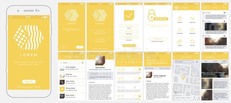 Σχέδιο κινητό app, UI, UX, GUI ελεύθερη απεικόνιση δικαιώματος