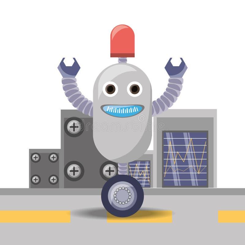 σχέδιο κινούμενων σχεδίων ρομπότ διανυσματική απεικόνιση