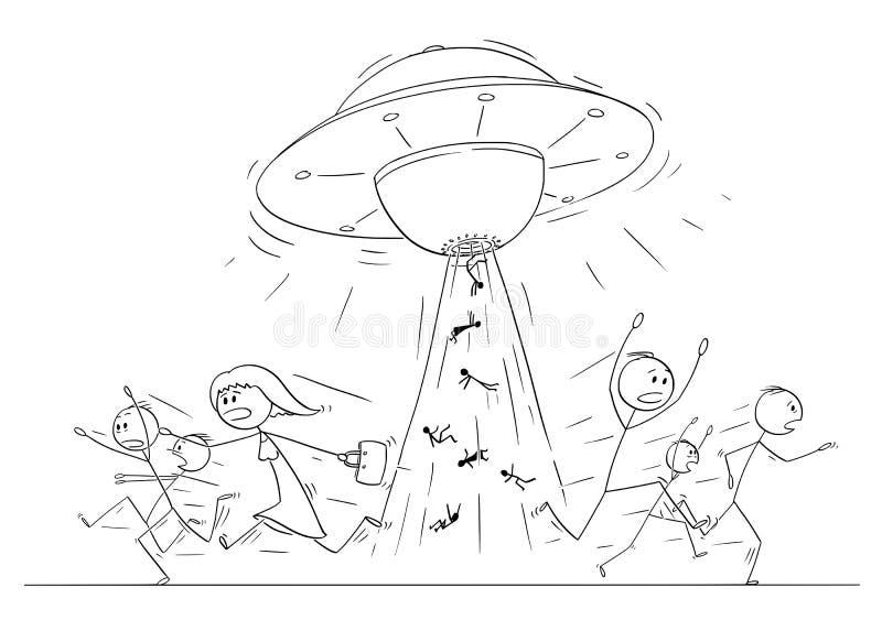 Σχέδιο κινούμενων σχεδίων του πλήθους των ανθρώπων που τρέχουν στον πανικό μακρυά από UFO ή το αλλοδαπό σκάφος που απάγει τα ανθρ διανυσματική απεικόνιση