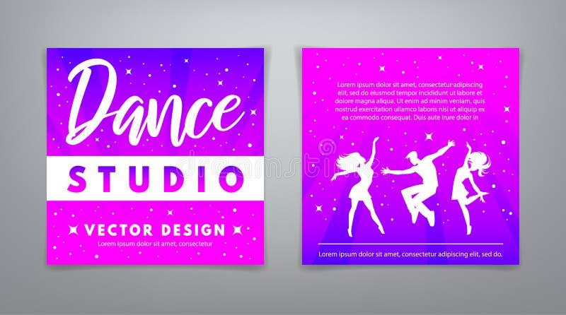 Σχέδιο κλίσεων στούντιο χορού με τους χορεύοντας νέους ελεύθερη απεικόνιση δικαιώματος