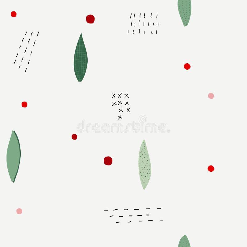 Σχέδιο κολάζ χειμερινής εποχής λουλουδιών Χριστουγέννων απεικόνιση αποθεμάτων
