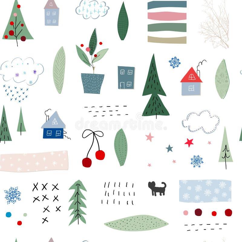 Σχέδιο κολάζ χειμερινής εποχής χριστουγεννιάτικων δέντρων διανυσματική απεικόνιση