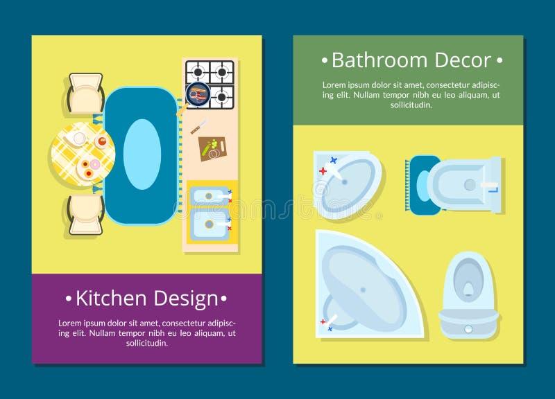 Σχέδιο κουζινών, διανυσματική απεικόνιση ντεκόρ λουτρών διανυσματική απεικόνιση