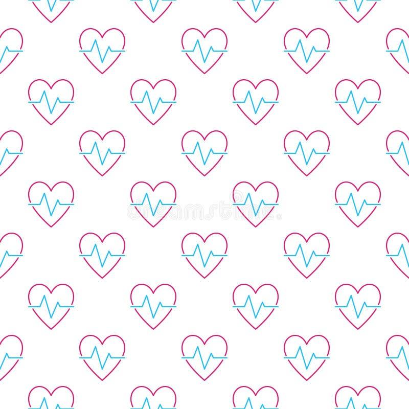 Σχέδιο κτύπου της καρδιάς Διανυσματικό καρδιακό άνευ ραφής υπόβαθρο κύκλων διανυσματική απεικόνιση