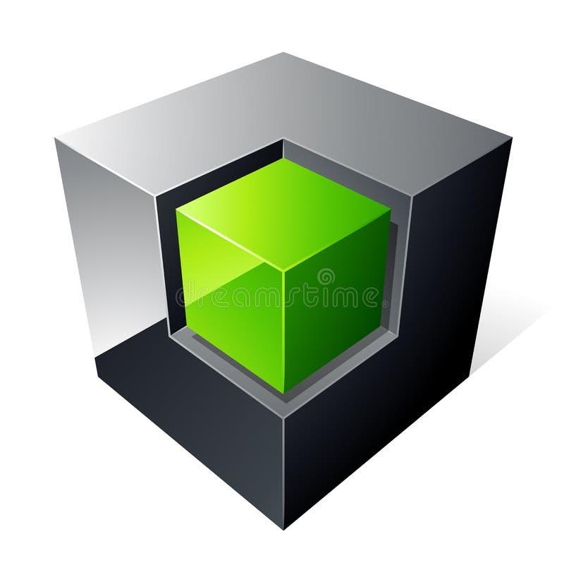 σχέδιο κύβων πράσινο ελεύθερη απεικόνιση δικαιώματος