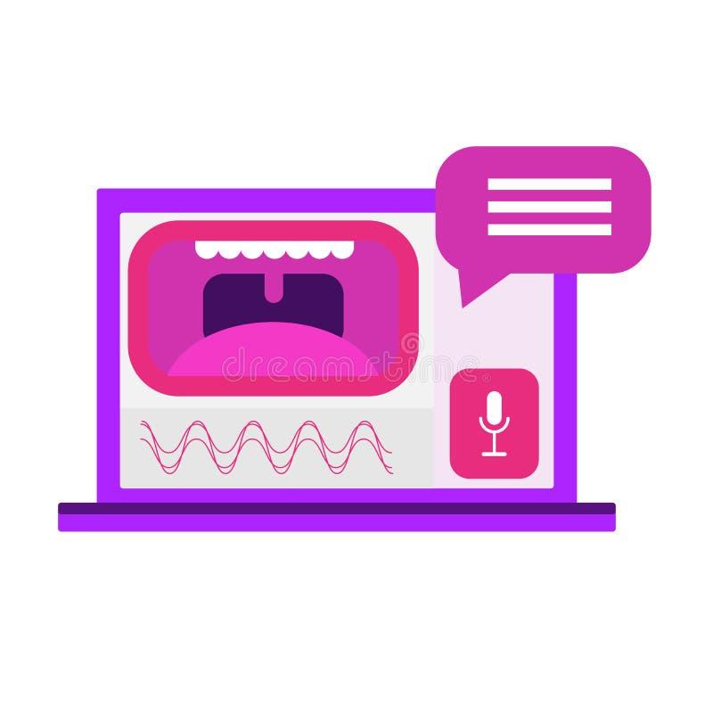 Σχέδιο λεκτικών ενδιάμεσων με τον χρήστη Τεχνολογία αναγνώρισης φωνής Διανυσματική απεικόνιση έννοιας ελεύθερη απεικόνιση δικαιώματος
