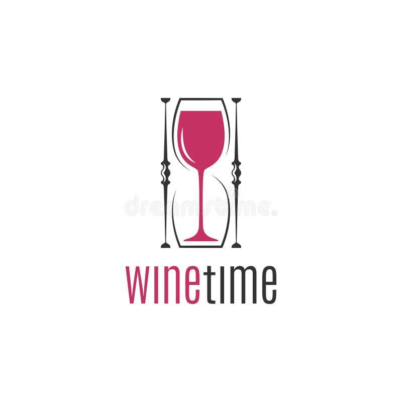 Σχέδιο λογότυπων έννοιας κλεψυδρών γυαλιού κρασιού στο λευκό διανυσματική απεικόνιση