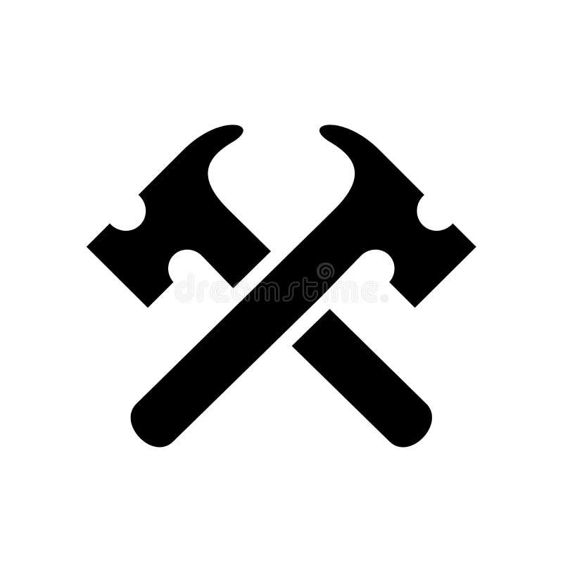 Σχέδιο λογότυπων ανακαίνισης, μαύρο εικονίδιο σκιαγραφιών εργαλείων σφυριών, έννοια λογότυπων επισκευής διανυσματική απεικόνιση