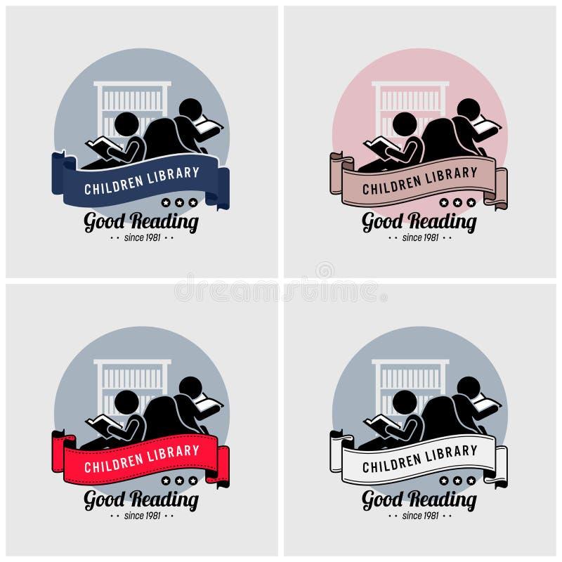 Σχέδιο λογότυπων βιβλιοθηκών παιδιών διανυσματική απεικόνιση