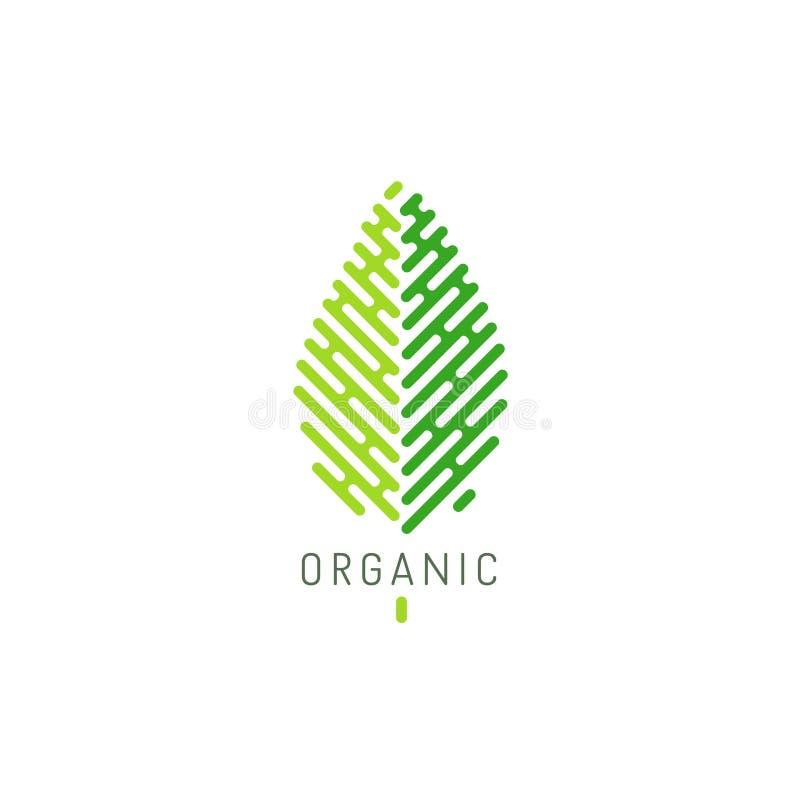 Σχέδιο λογότυπων για τα οργανικά και φυσικά προϊόντα Υγιής τρόπος ζωής και vegan σημάδι ελεύθερη απεικόνιση δικαιώματος