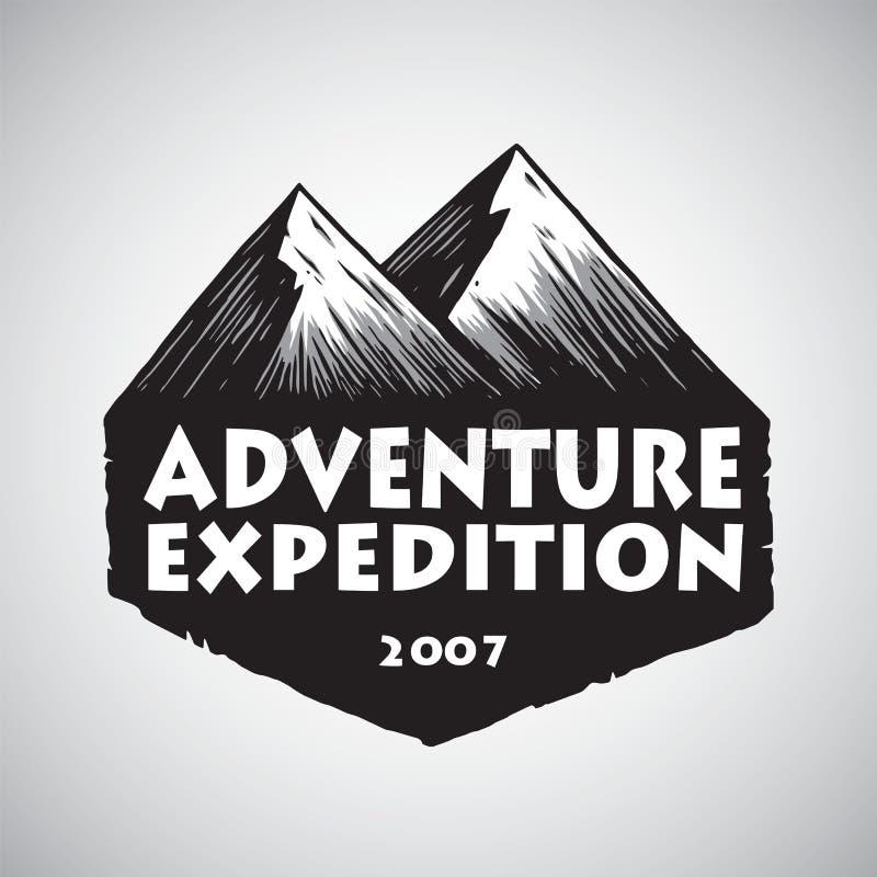 Σχέδιο λογότυπων για την αθλητική περιπέτεια βουνών, στρατοπέδευση, πυρά προσκόπων, εκλεκτής ποιότητας διανυσματικό πρότυπο απεικ ελεύθερη απεικόνιση δικαιώματος