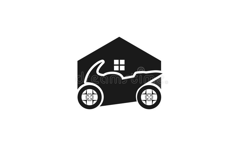Σχέδιο λογότυπων γκαράζ μοτοσικλετών διανυσματική απεικόνιση