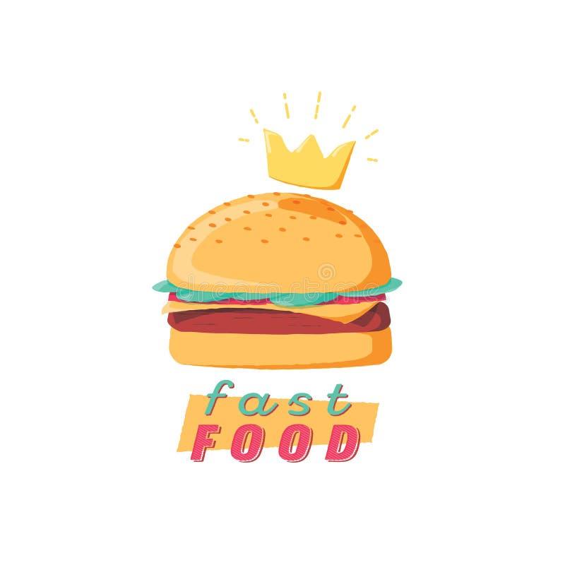 Σχέδιο λογότυπων γρήγορου φαγητού, burger σημάδι με την κορώνα, διανυσματική απεικόνιση επιλογών γρήγορου φαγητού σε ένα άσπρο υπ ελεύθερη απεικόνιση δικαιώματος