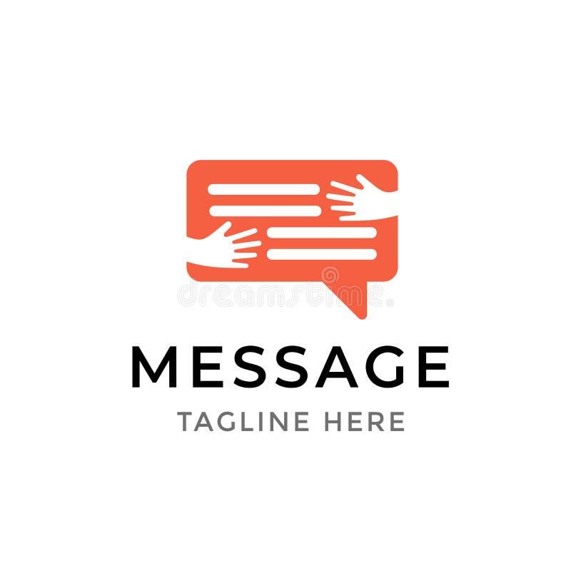 Σχέδιο λογότυπων επικοινωνίας μηνυμάτων Σύμβολο προτύπων των ανθρώπινων χεριών που αγκαλιάζουν τη φυσαλίδα συνομιλίας που απομονώ ελεύθερη απεικόνιση δικαιώματος