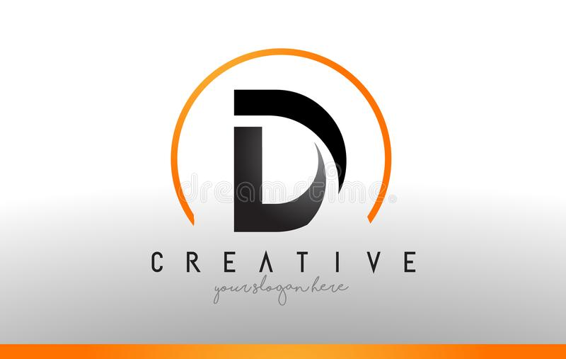 Σχέδιο λογότυπων επιστολών Δ με το μαύρο πορτοκαλί χρώμα Δροσερό σύγχρονο εικονίδιο Τ ελεύθερη απεικόνιση δικαιώματος